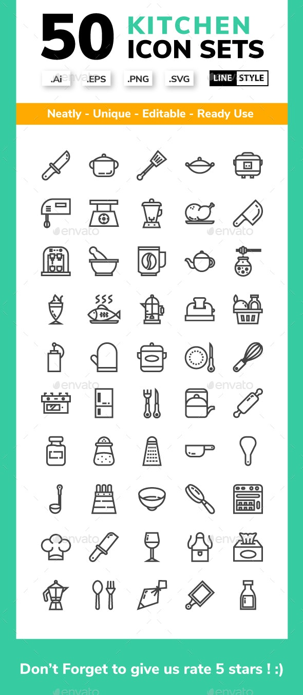 Kitchen - Line Icon set