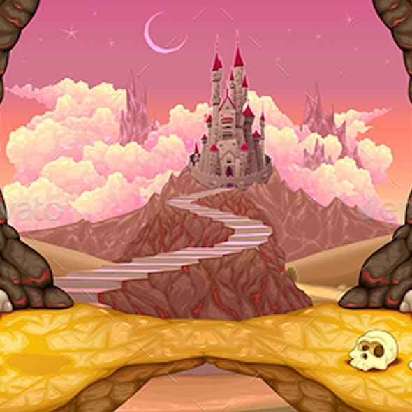 Fantasy Landscape with Castle, Caverns and Treasure