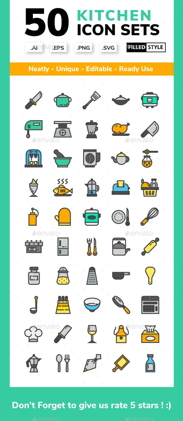 Kitchen - Filled Line Icon set - Miscellaneous Icons