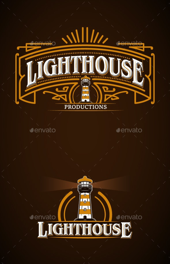 Lighthouse Vintage Logo - Decorative Symbols Decorative