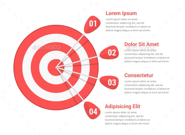 Target with Four Arrows - Infographics