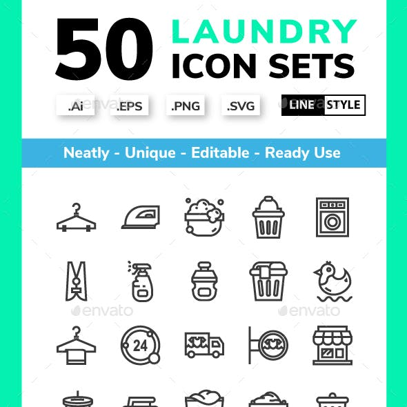 Laundry - line icon set