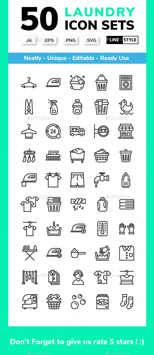 Laundry - line icon set - Miscellaneous Icons