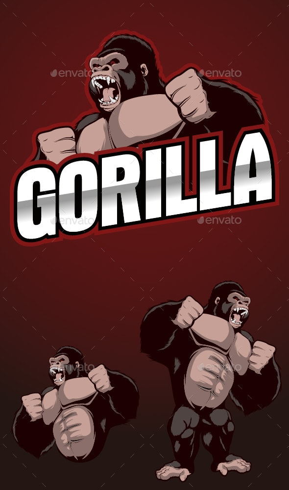 Gorilla Scream Mascot Logo - Animals Characters