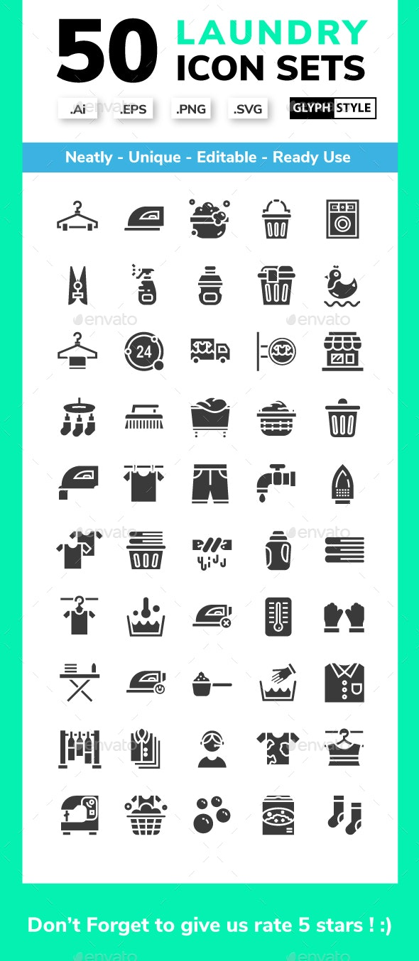 Laundry - Glyph Icons set