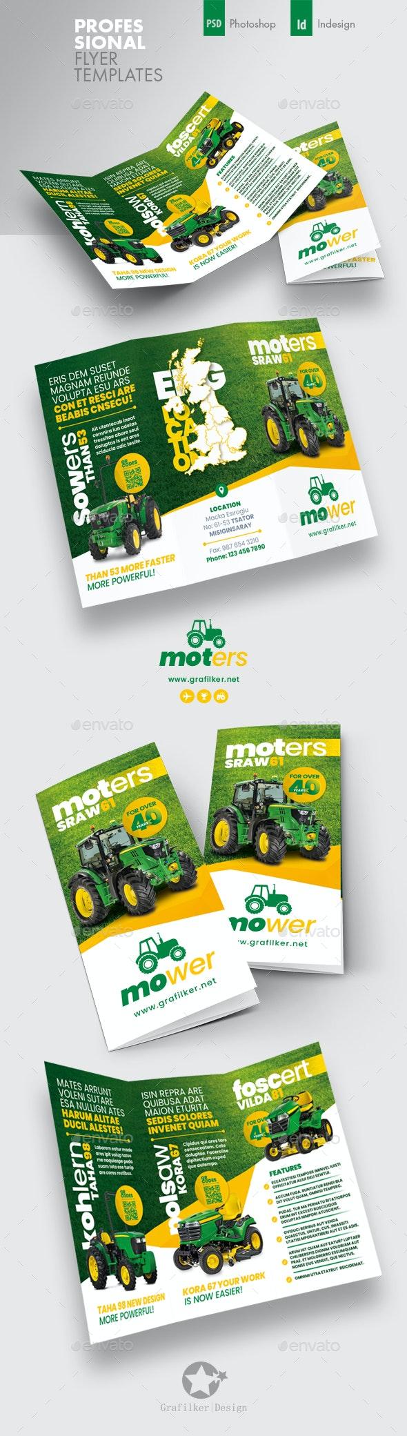 Vehichle Mower Tri-Fold Templates - Corporate Brochures