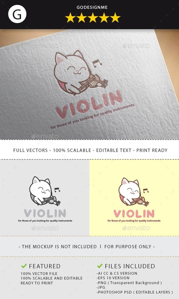 Violin Logo Design - Vector Abstract