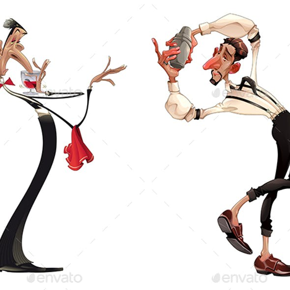 Caricatures of Bartender and Waiter with Red Wine