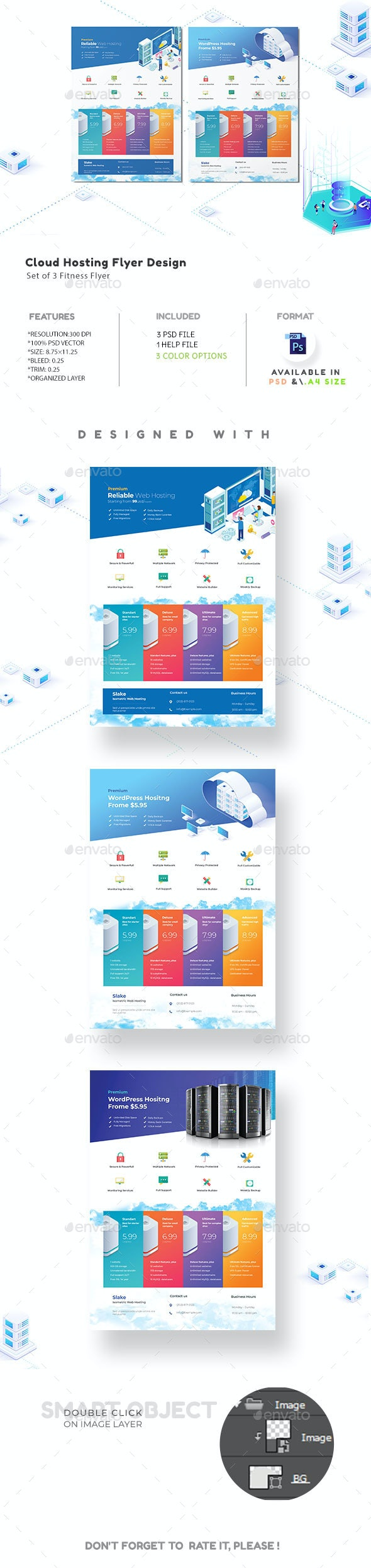 Cloud Hosting Flyer - Flyers Print Templates