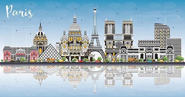 Paris France City Skyline with Color Buildings - Buildings Objects