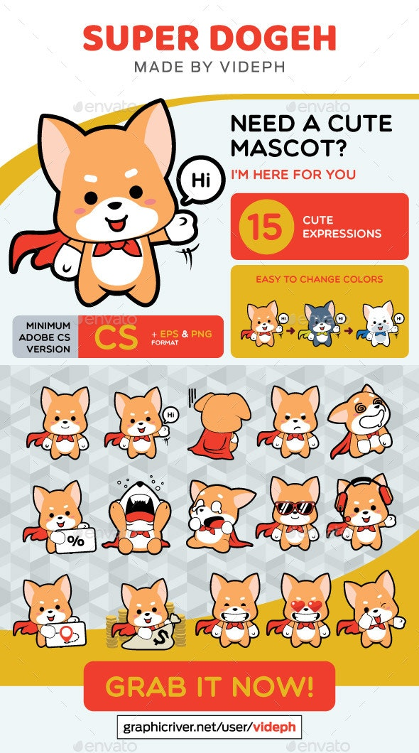 15 Expression Super Dogeh Mascot - Animals Characters