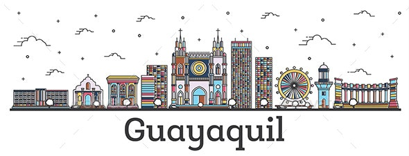 Outline Guayaquil Ecuador City Skyline with Color Buildings Isolated on White. - Buildings Objects