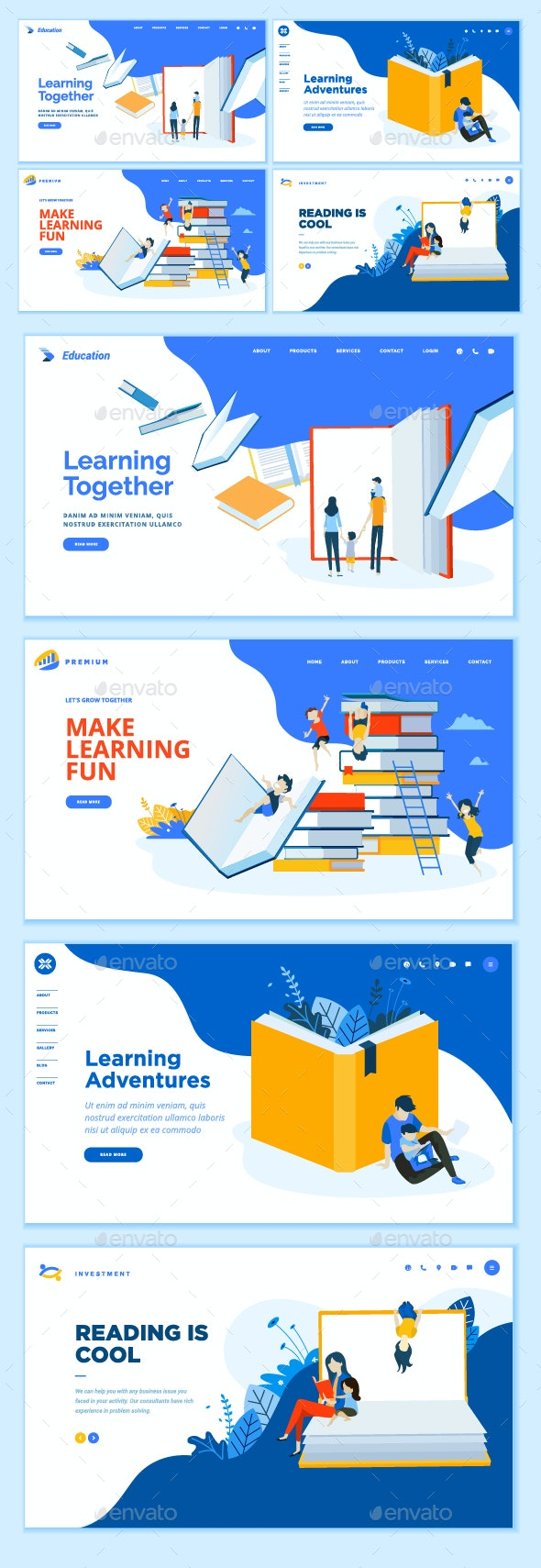 Set of Web Page Design Templates - Web Elements Vectors