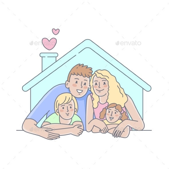 Happy Family Concept - People Characters