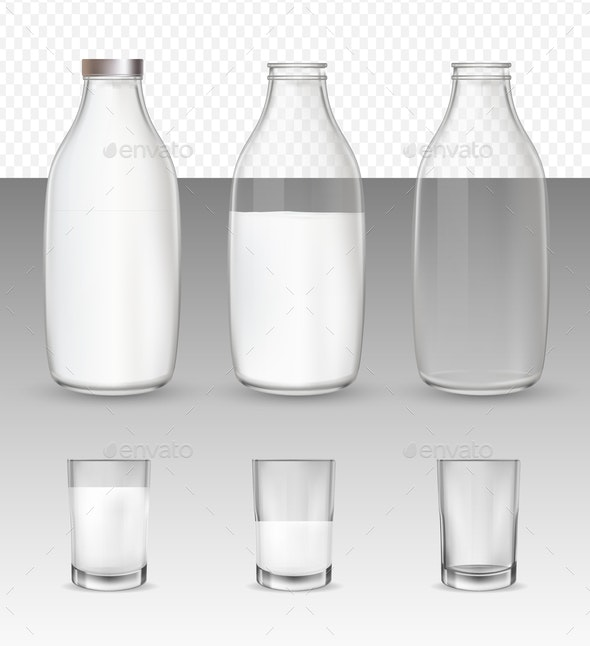Set of Milk Glasses and Bottles - Food Objects