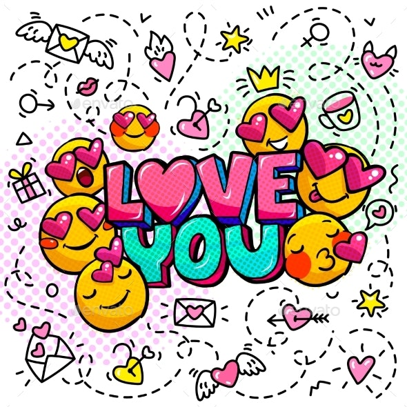 Love You Word Bubble Message in Pop Art Comic - Miscellaneous Vectors