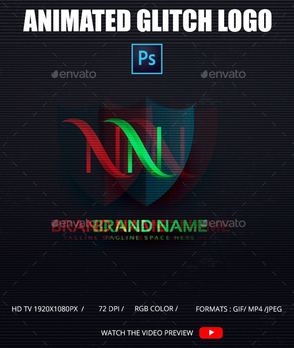 Animated Glitch Logo Photoshop Template - Photo Templates Graphics