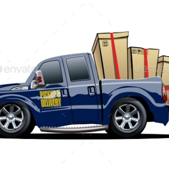 Cartoon Delivery or Cargo Pickup Truck Isolated