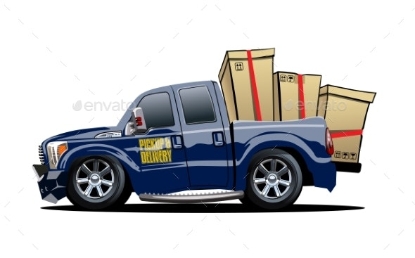 Cartoon Delivery or Cargo Pickup Truck Isolated - Man-made Objects Objects