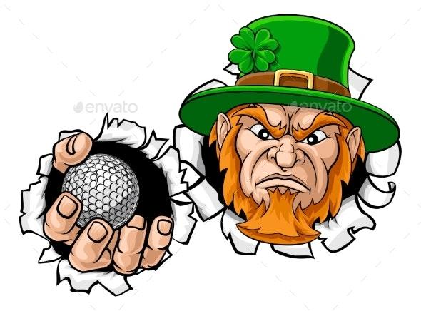 Leprechaun Golf Mascot Ripping Background - Sports/Activity Conceptual