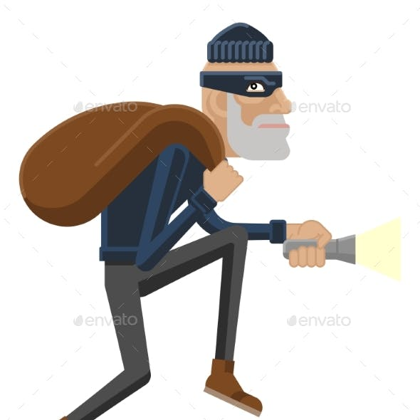 Thief Burglar Robber Criminal Cartoon Mascot
