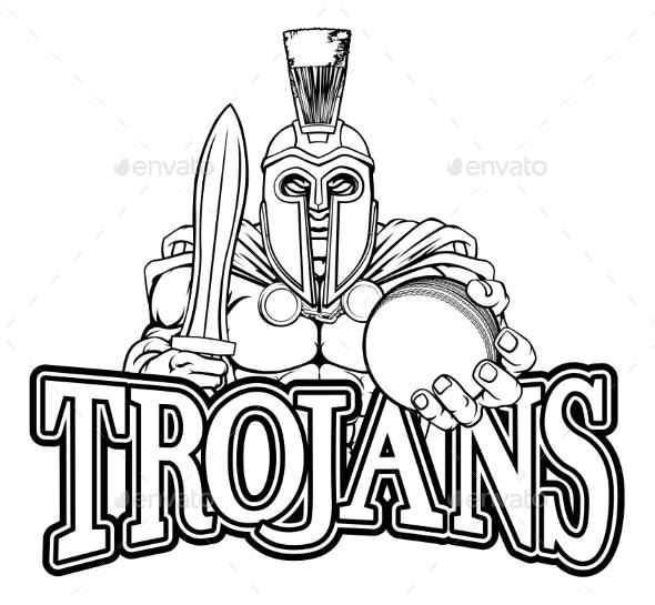 Spartan Trojan Cricket Sports Mascot - Sports/Activity Conceptual