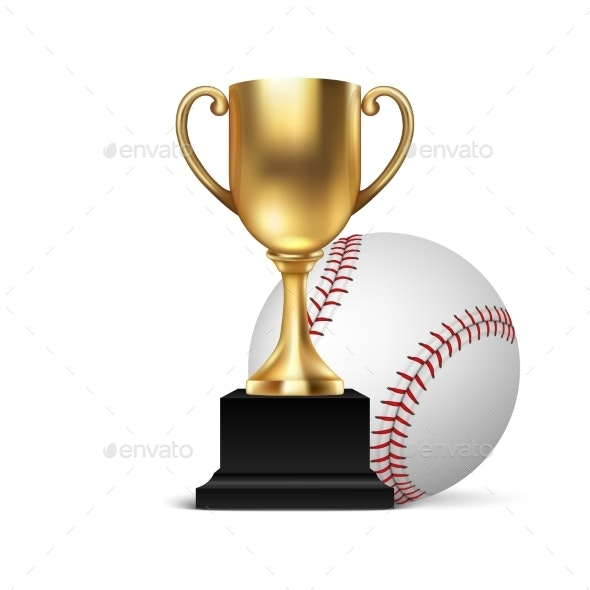 Champion Cup Icon with Baseball - Sports/Activity Conceptual