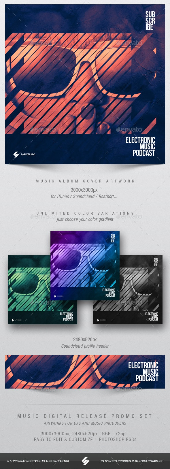 Electronic Music Podcast - Album Cover Artwork Template - Miscellaneous Social Media