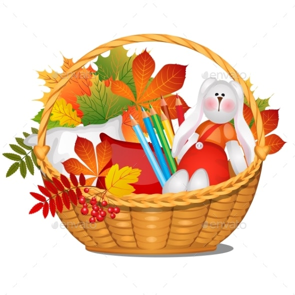 Wicker Basket with Autumn Leaves and Rabbit - Flowers & Plants Nature