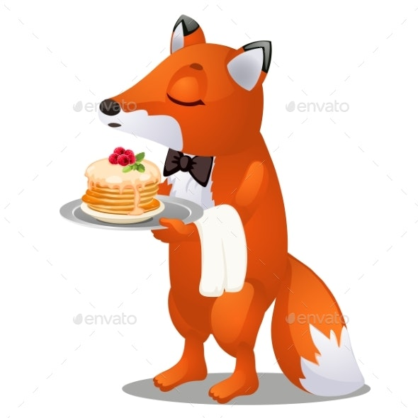 The Waiter Fox Carries a Plate of Pancakes - Animals Characters