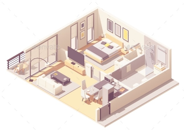 Vector Isometric Apartment Hotel Suite - Buildings Objects