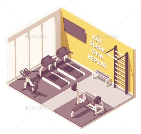 Vector Isometric Gym Interior - Sports/Activity Conceptual