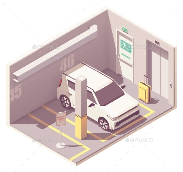 Vector Isometric Underground Car Parking Garage - Buildings Objects