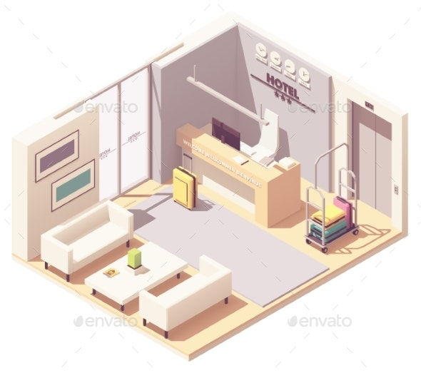 Vector Isometric Hotel Reception - Buildings Objects