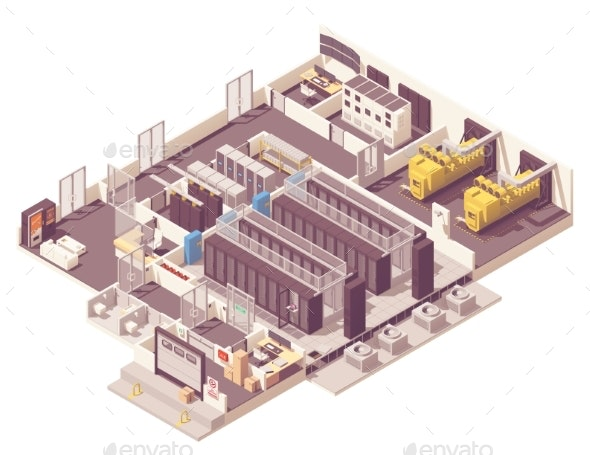 Isometric Data Center Interior - Computers Technology
