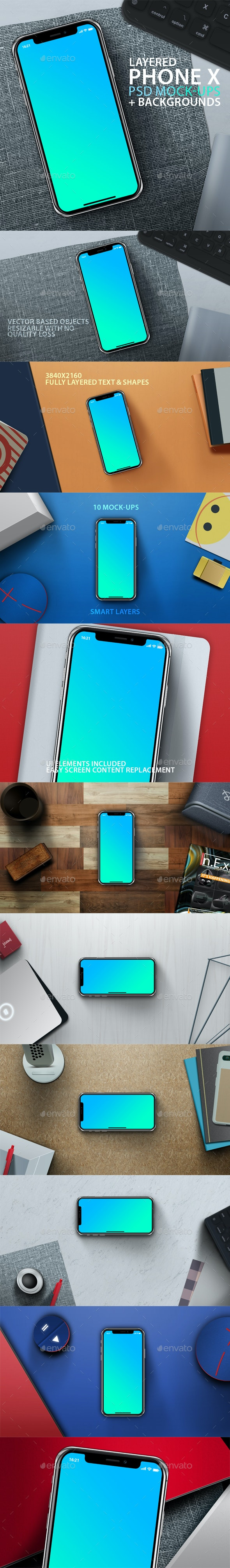 PhoneX Layered PSD Mock-Ups with Backgrounds - Mobile Displays