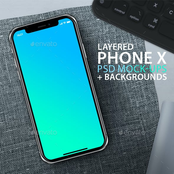 PhoneX Layered PSD Mock-Ups with Backgrounds