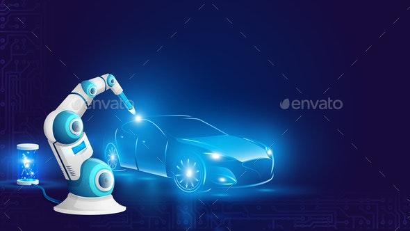 White Robot Arm Welding Automobile Illustration - Industries Business