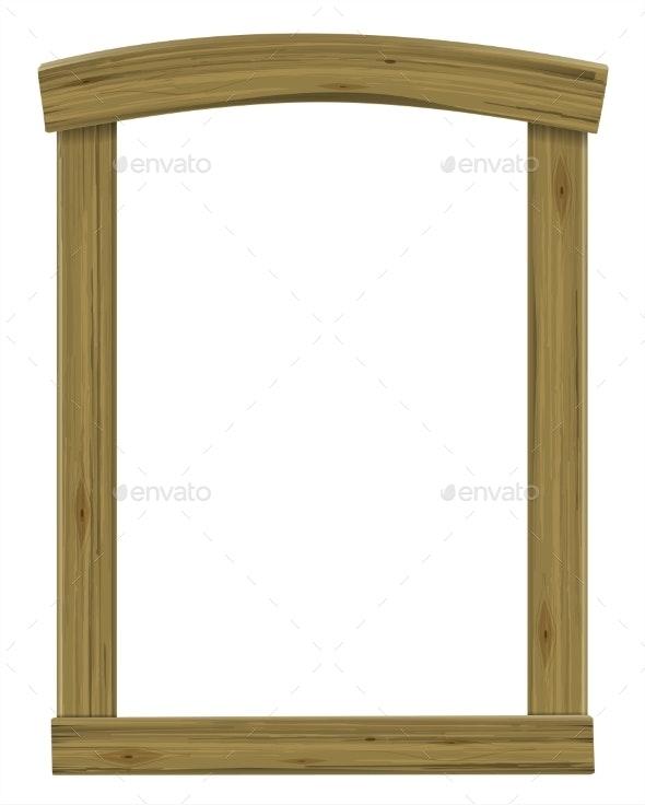 Wooden Antique Window or Door Frame Arch - Borders Decorative