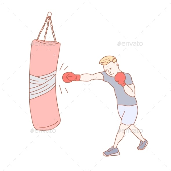 Man Training Boxing at the Gym - Sports/Activity Conceptual