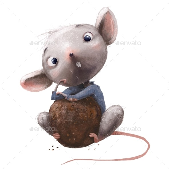 Cute Little Mouse with Chocolate - Animals Illustrations