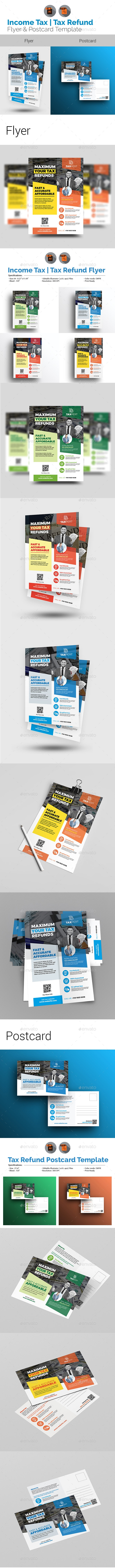 Income Tax Flyer with Postcard Bundle - Flyers Print Templates