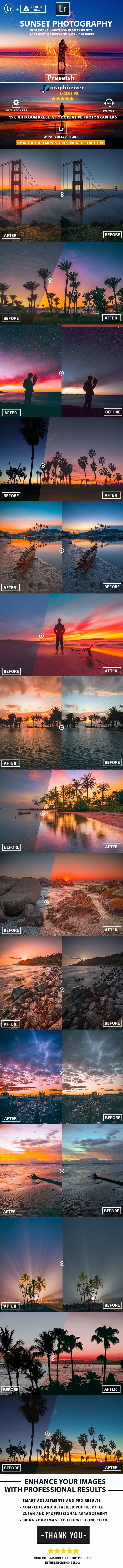 15 Pro Sunset photography Lightroom Presets - Lightroom Presets Add-ons