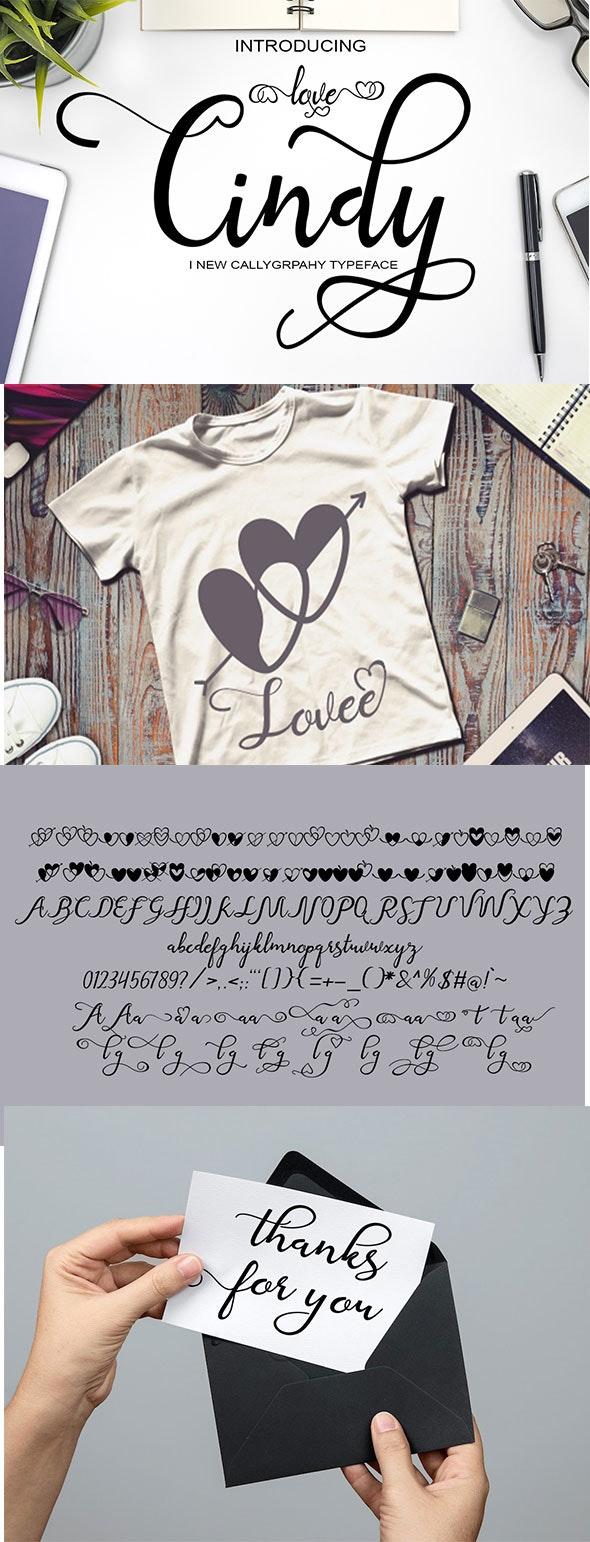 Cindy love - Script Fonts