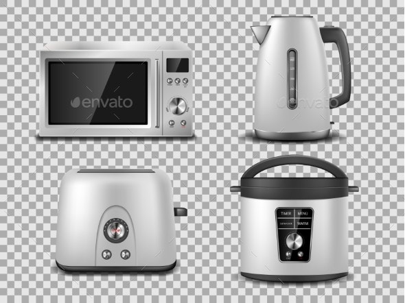 Kitchen Appliances Template Realistic Silver - Man-made Objects Objects