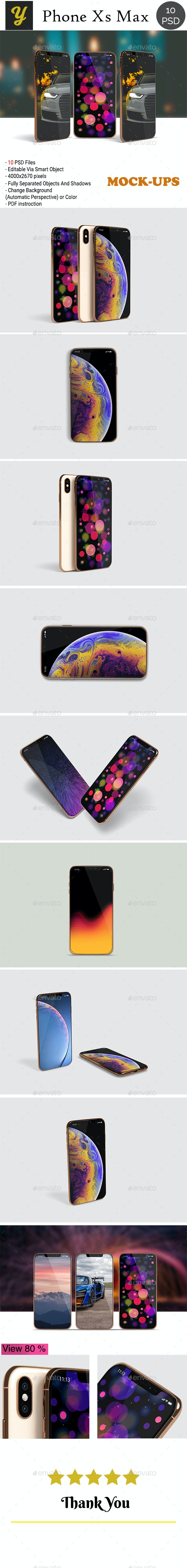 Phone XS  Max Mockup - Mobile Displays