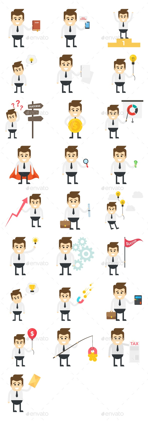 25 Businessman Activities Characters - People Characters