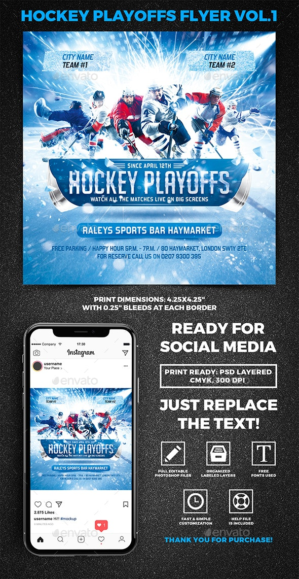 Hockey Playoffs Square Flyer vol.1 - Sports Events
