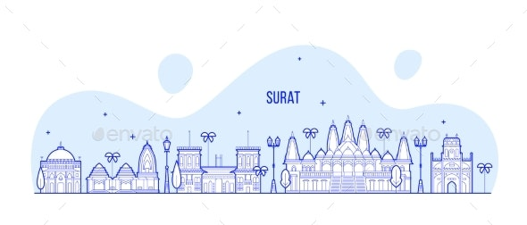 Surat Skyline Gujarat India City Buildings Vector