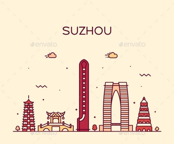 Suzhou Skyline East China Vector Linear Style - Buildings Objects
